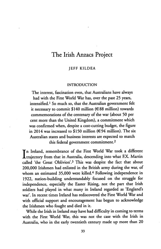 Kildea - Irish Anzacs Project (2015)